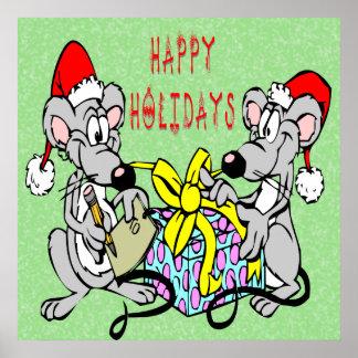 Impresión de los ratones del navidad póster