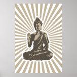 Impresión de los rayos de Buda Póster