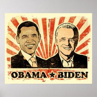 Impresión de los retratos de Obama Biden Póster