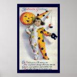 Impresión de los saludos de Halloween del vintage Impresiones