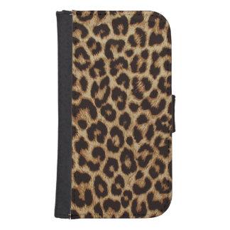 Impresión de lujo de la piel del leopardo cartera para galaxy s4