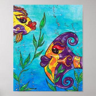 Impresión de lujo de los pescados poster