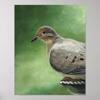 Impresión de luto del arte del pájaro de la paloma póster