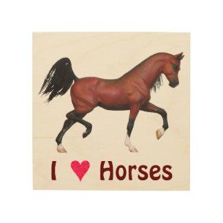 """Impresión de madera 8"""" de los caballos del amor de cuadro de madera"""