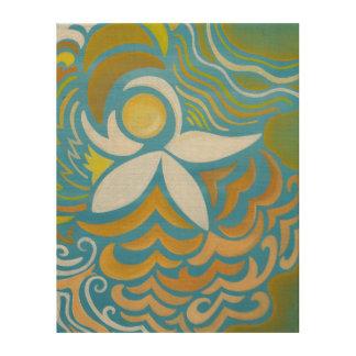 Impresión de madera abstracta del lirio de agua cuadros de madera