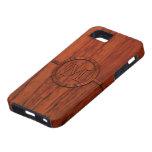 Impresión de madera de caoba del monograma iPhone 5 Case-Mate protector