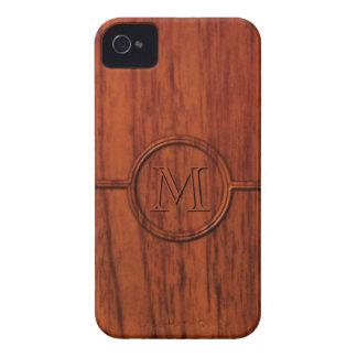Impresión de madera de caoba del monograma iPhone 4 protectores