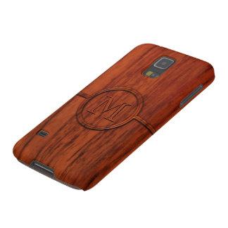 Impresión de madera de caoba del monograma carcasa de galaxy s5
