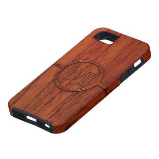 Impresión de madera de caoba del monograma funda para iPhone SE/5/5s