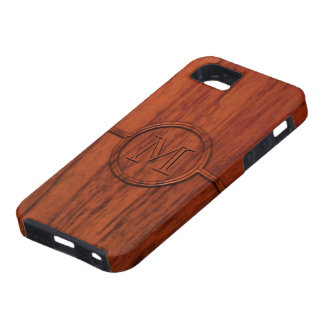 Impresión de madera de caoba del monograma iPhone 5 carcasa