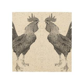 Impresión de madera de los gallos cuadros de madera