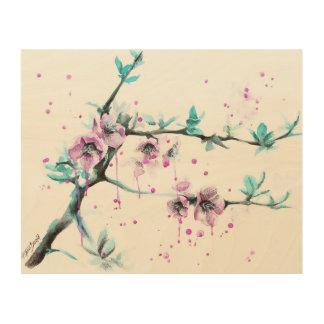 Impresión de madera rosada de la lona de los flore cuadros de madera
