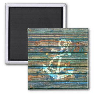 Impresión de madera rústica azulverde de la foto d imán cuadrado