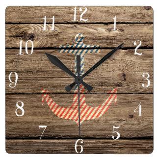 Impresión de madera rústica de la foto del ancla d reloj
