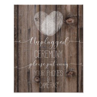 impresión de madera rústica desenchufada de la póster
