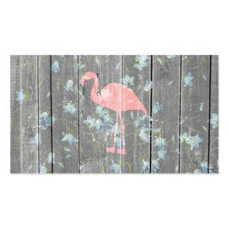 Impresión de madera rústica gris floral de la foto tarjetas de visita