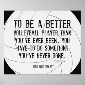 Impresión de motivación 007 del voleibol blanco y póster
