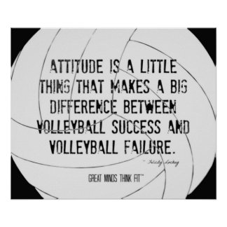 Impresión de motivación 010 del voleibol blanco y póster