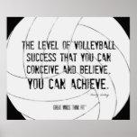 Impresión de motivación 014 del voleibol blanco y  impresiones