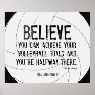 Impresión de motivación 015 del voleibol blanco y  poster