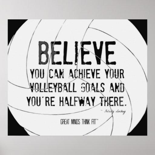 Impresión de motivación 015 del voleibol blanco y  póster