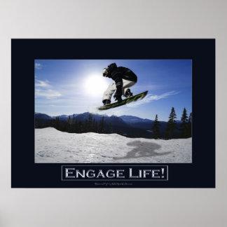 Impresión de motivación de la foto del SNOWBOARDER Posters