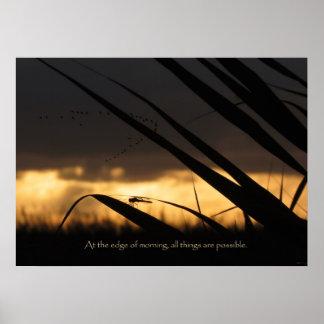 Impresión de motivación de la libélula de la mañan posters