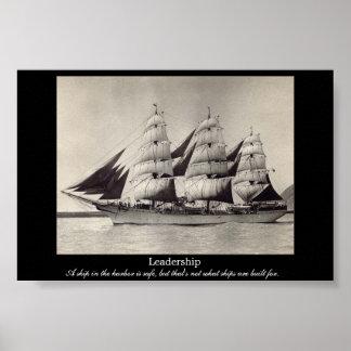 Impresión de motivación de la nave de la vela de l póster