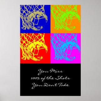 Impresión de motivación del baloncesto de la cita póster