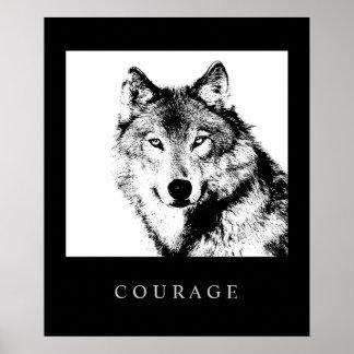 Impresión de motivación del poster del lobo del va