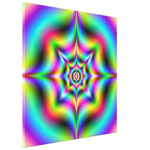 Impresión de neón de la lona del Psychedelia Lienzo Envuelto Para Galerías