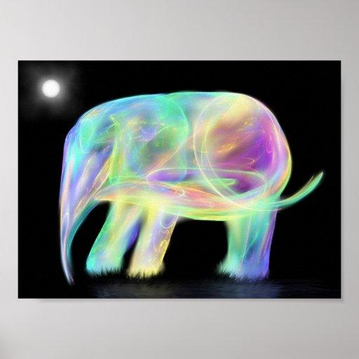 Impresión de neón del elefante poster