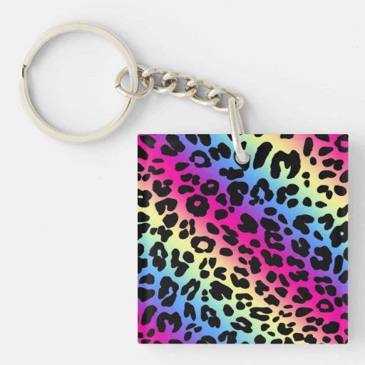 Impresión de neón del modelo del leopardo del arco llavero cuadrado acrílico a doble cara