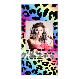 Impresión de neón del modelo del leopardo del arco tarjeta personal con foto