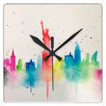 Impresión de New York City Reloj Cuadrado
