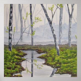 Impresión de niebla de la bella arte del bosque posters