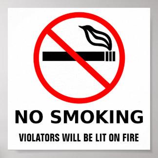 Impresión de no fumadores póster