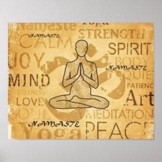 Impresión de oro de Lotus del amor de la yoga de Posters