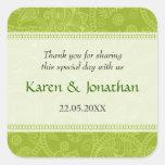 Impresión de Paisley en pegatina verde del boda