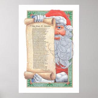 Impresión de Papá Noel del navidad Póster