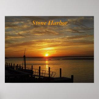 Impresión de piedra de la puesta del sol del puert póster