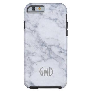 Impresión de piedra de mármol gris y blanca funda para iPhone 6 tough