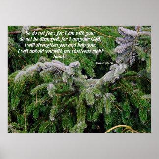 Impresión de plata del 41:10 de Isaías del árbol d