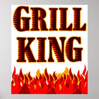 Impresión de rey Red Flames BBQ Saying de la parri Póster