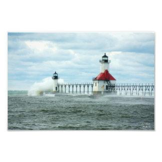 Impresión de Sandy del huracán del lago Michigan d Impresión Fotográfica