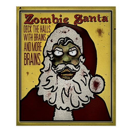 Impresión de Santa del zombi Póster