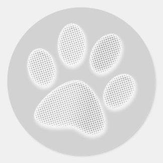 Impresión de semitono blanca/gris clara de la pata pegatina redonda