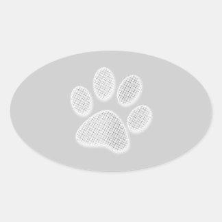 Impresión de semitono blanca/gris clara de la pata pegatina ovalada