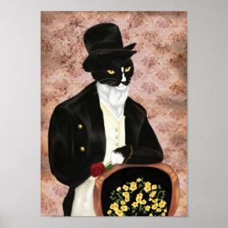 Impresión de Sr Darcy Cat Holding Rose Poster