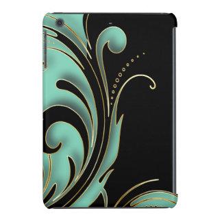 Impresión de Swirly del negro, del trullo y del Fundas De iPad Mini